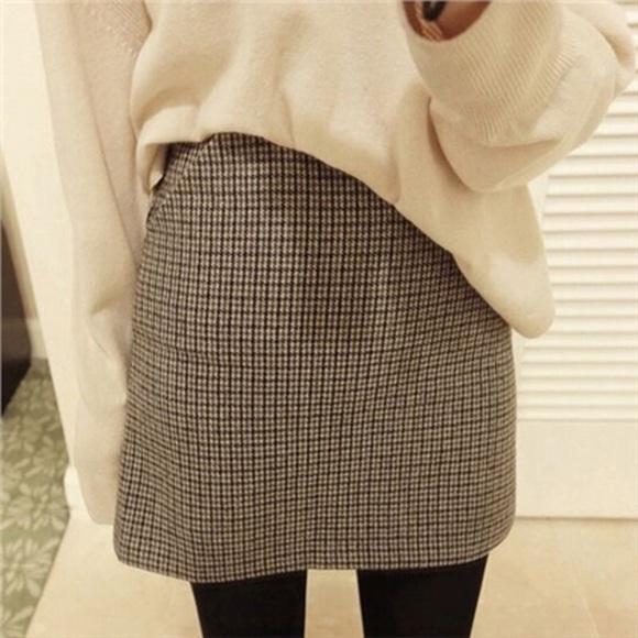 Plaid Wool A Line High Waist Skirt Zipper Back